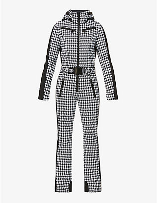 GOLDBERGH: France houndstooth-print shell ski suit