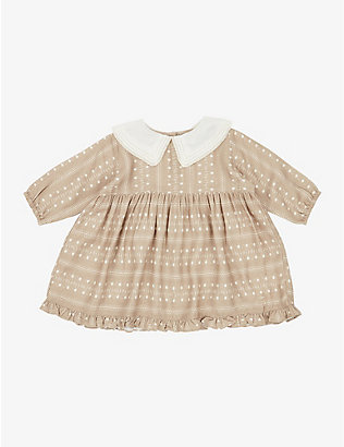 CARAMEL: Buzzard round-collar dot-pattern dress 3-24 months
