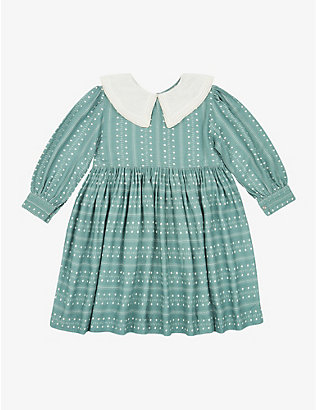 CARAMEL: Buzzard round-collar dot-patterned dress 3-12 years