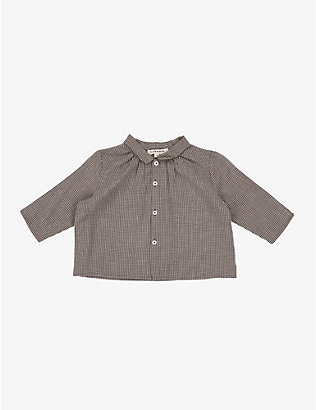 CARAMEL: Raven micro-check cotton shirt 3-24 months