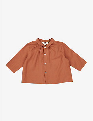 CARAMEL: Raven cotton shirt 3-24 months