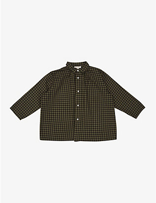 CARAMEL: Raven gingham cotton shirt 3-6 years