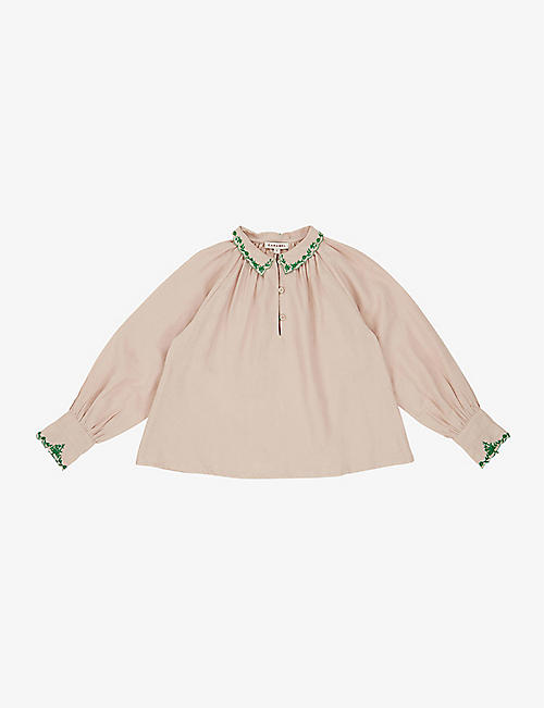 CARAMEL: Ruff embroidered cotton top 3-6 years