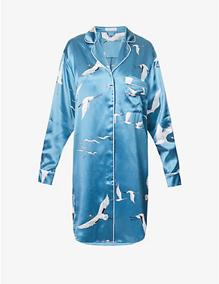 OLIVIA VON HALLE: Poppy bird-print silk-satin nightshirt
