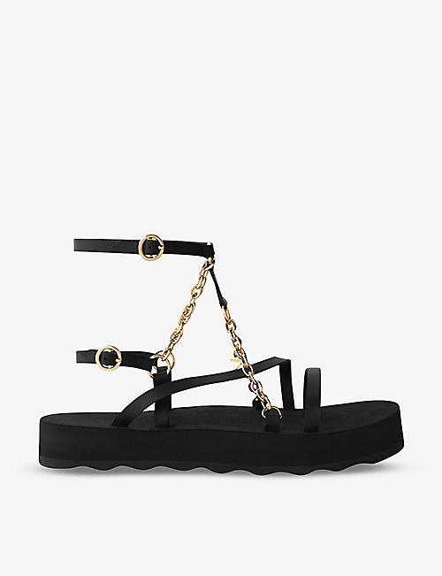 MAJE: Frankie chain and charm-embellished leather sandals