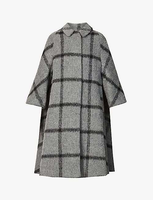 RED VALENTINO: Checked oversized wool coat