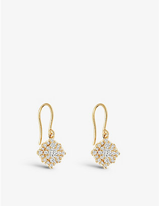 ASTLEY CLARKE: Interstellar Cluster Drop 14ct recycled yellow-gold diamond earrings