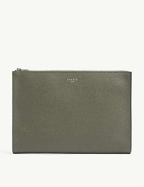 SANDRO: Logo-print grained leather pouch