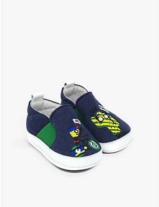 KIDSWEAR COLLECTIVE: Pre-Loved Fendi cactus-detail cotton crib shoes 0-6 months