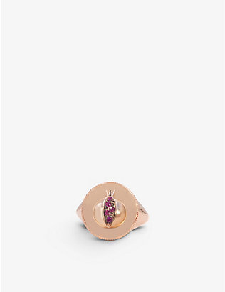THE ALKEMISTRY: Noush 14ct rose gold and ruby love signet ring