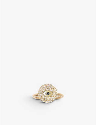 THE ALKEMISTRY: Noush 14ct yellow gold, sapphire and diamond evil eye ring