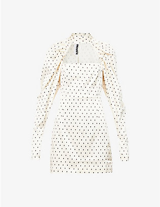 ROTATE BIRGER CHRISTENSEN: Kaya polka-dot stretch-satin mini dress