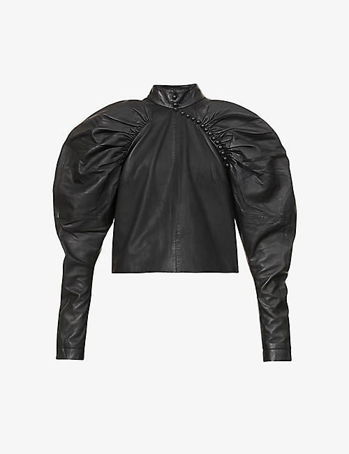ROTATE BIRGER CHRISTENSEN: Kim puffed-sleeve leather top
