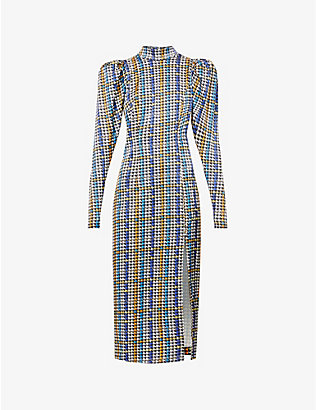 ROTATE BIRGER CHRISTENSEN: Theresa houndstooth-print stretch-woven midi dress