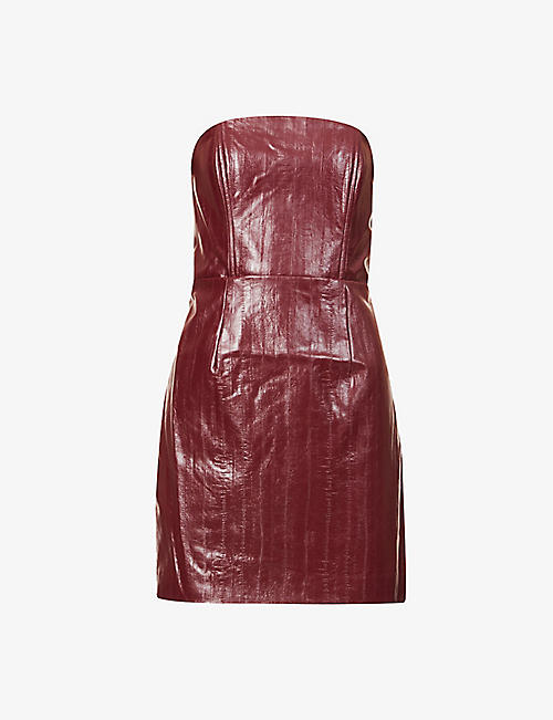 ROTATE BIRGER CHRISTENSEN: Herla strapless faux-leather mini dress