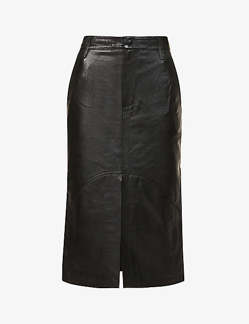 REMAIN BIRGER CHRISTENSEN: Bocca high-waisted leather midi skirt