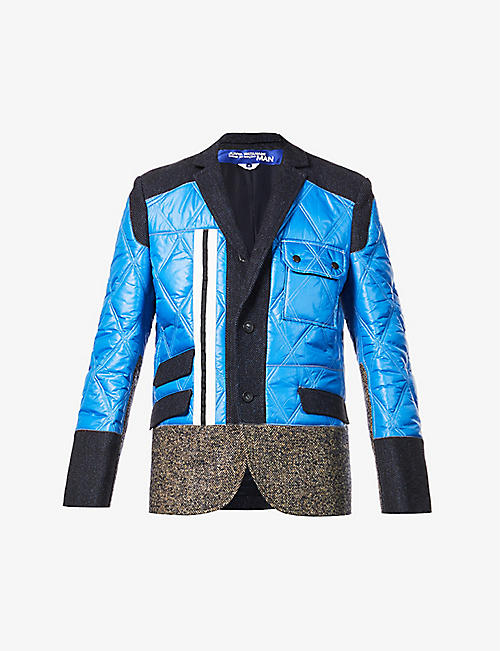 JUNYA WATANABE: Patchwork wool and cashmere-blend and shell blazer