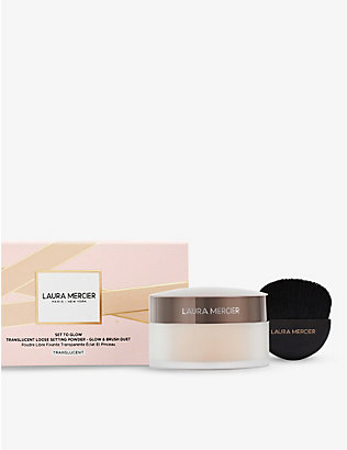 LAURA MERCIER: Set To Glow translucent loose setting powder glow and brush set 29g
