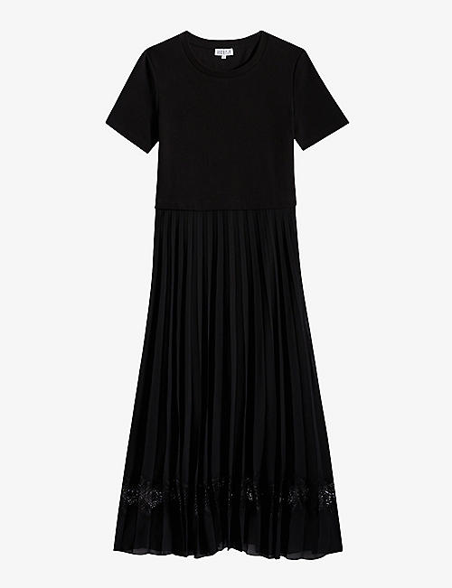 CLAUDIE PIERLOT: Telie pleated cotton midi dress