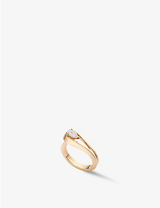 REPOSSI: Serti Inversé 18ct rose gold and 0.4ct diamond ring