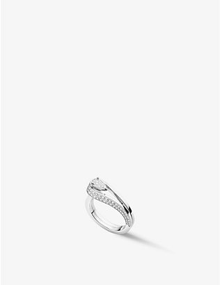 REPOSSI: Serti Inversé 18ct white gold and 0.97ct diamond ring