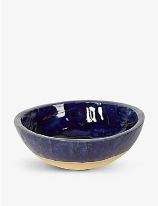 KANA LONDON: Midnight Blue glazed stoneware serving bowl 21cm