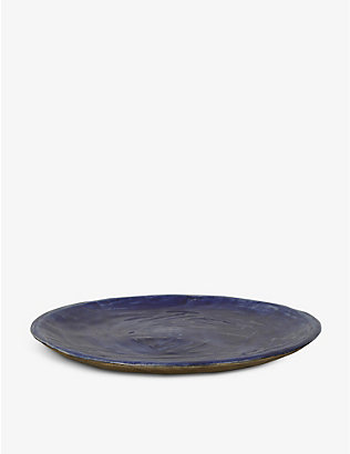 KANA LONDON: Midnight Blue glazed stoneware dinner plate 27.5cm
