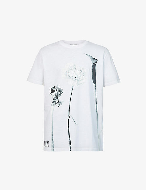 VALENTINO: Floral-print cotton-jersey T-shirt
