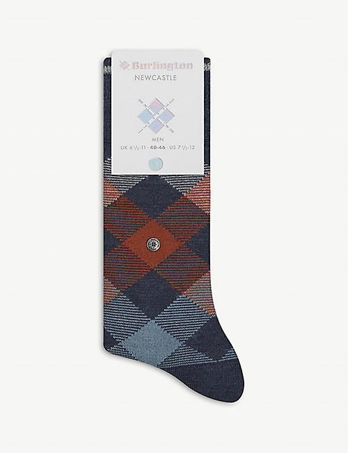 BURLINGTON: Newcastle Argyle-pattern cotton-blend knee-high socks