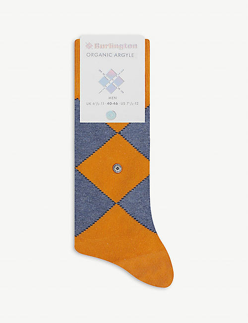 BURLINGTON: Organic Argyle-pattern cotton-blend knee-high socks