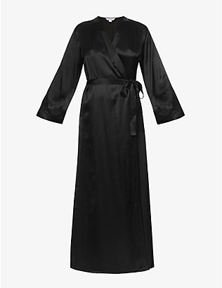 NK IMODE: Morgan floral lace-trimmed silk robe
