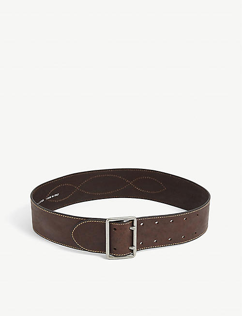 BA&SH: Brave contrast-stitch leather belt