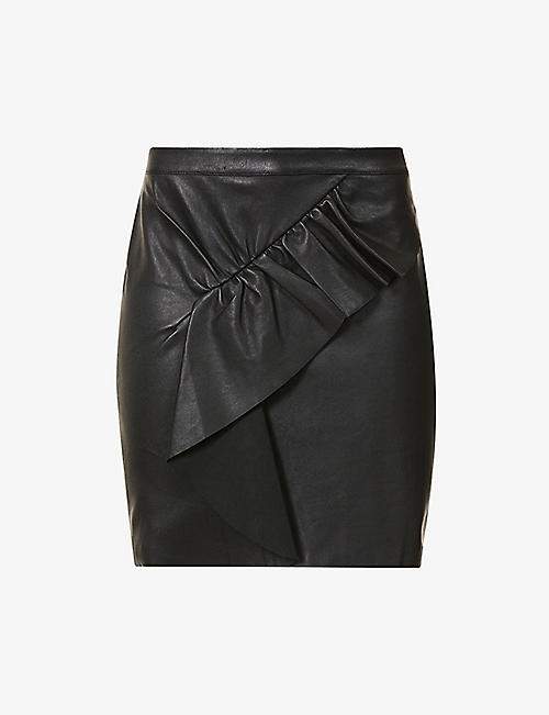 BA&SH: Feria ruched-panel leather mini skirt