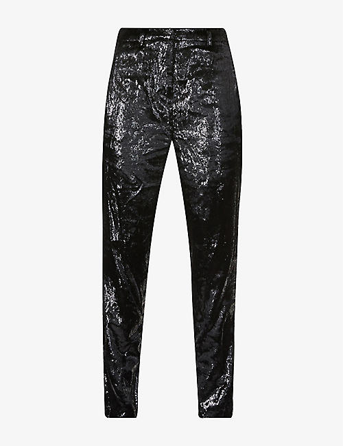 BA&SH: Kodi tapered-leg high-rise velvet trousers