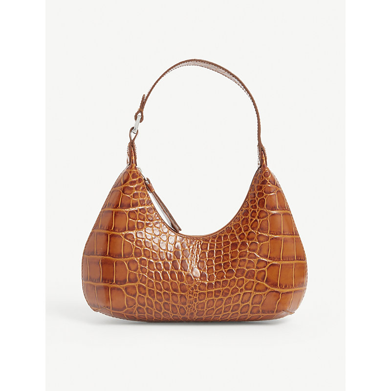 By Far Leathers BABY AMBER CROC-EMBOSSED LEATHER SHOULDER BAG