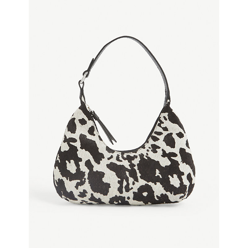 By Far Leathers BABY AMBER COW-PRINT LEATHER SHOULDER BAG