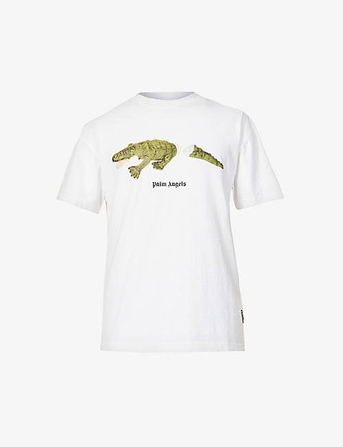 PALM ANGELS: Croco graphic-print cotton-jersey T-shirt