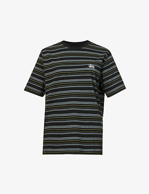 STUSSY: Heather stripe-print branded cotton-jersey T-shirt