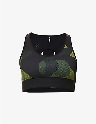 ULTRACOR: Mesh Camo Luna stretch-jersey sports bra
