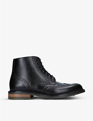 BARKER: Knights brogue-detail leather boots