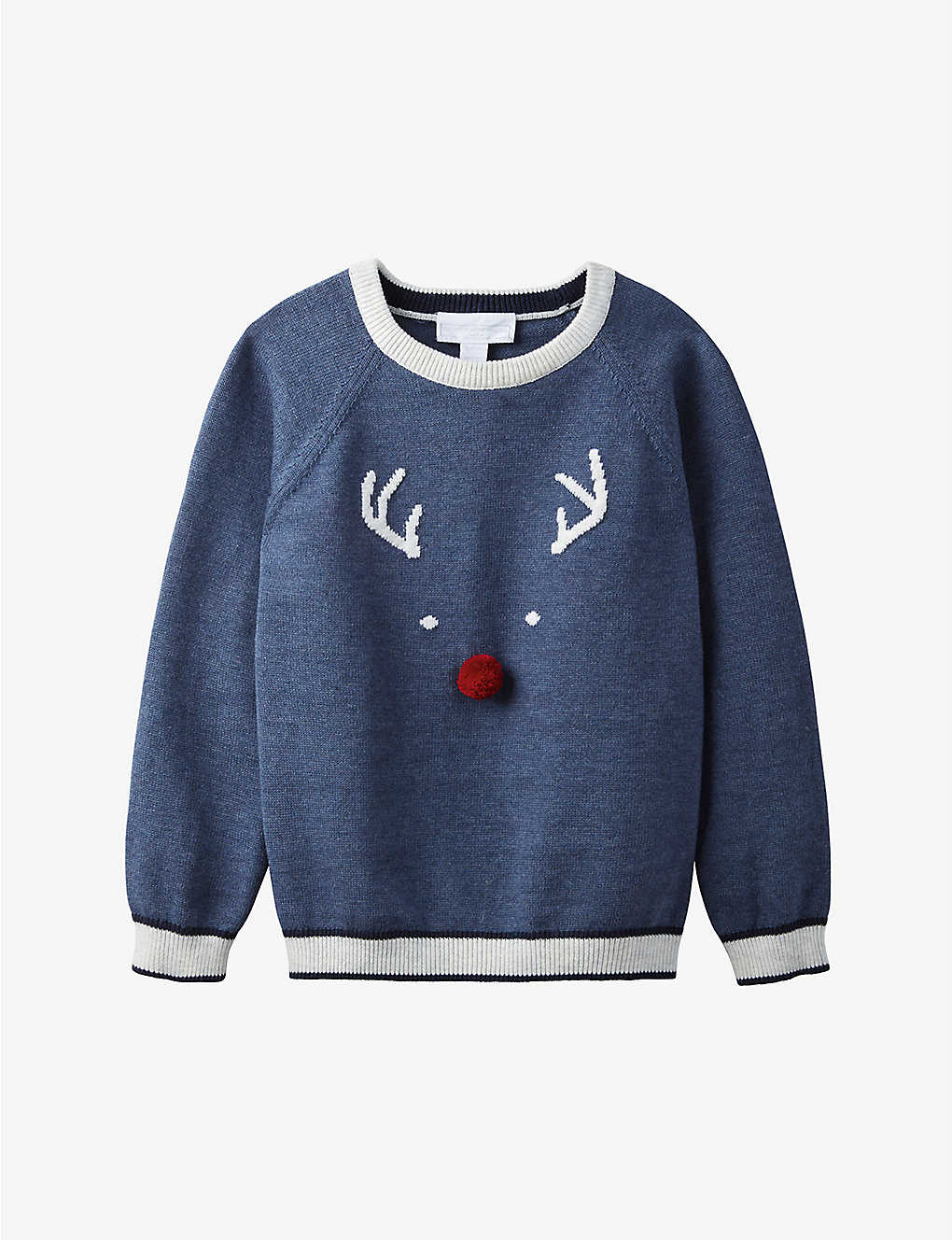 THE LITTLE WHITE COMPANY: Reindeer cotton-blend jumper 1-6 years