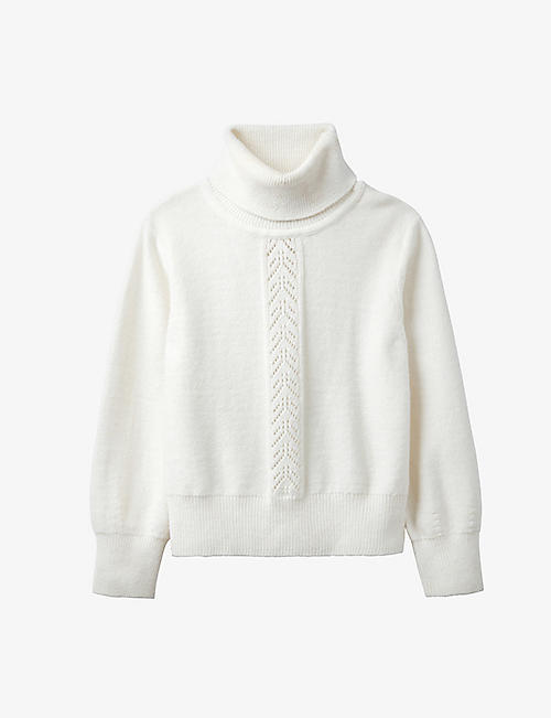 THE LITTLE WHITE COMPANY: Roll-neck wool-blend ribbed jumper