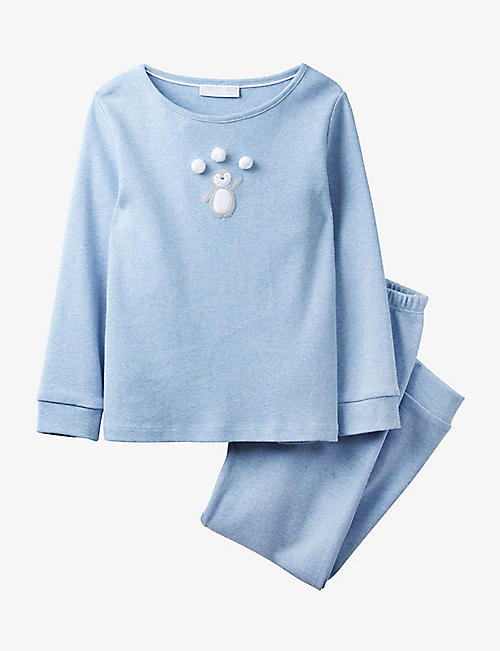 THE LITTLE WHITE COMPANY: Penguin pom-pom cotton pyjamas 1-12 years