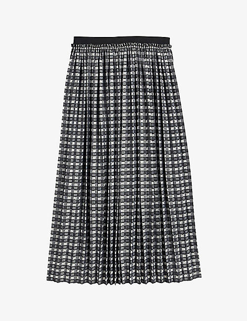 TED BAKER: Coliin checked pleated crepe midi skirt