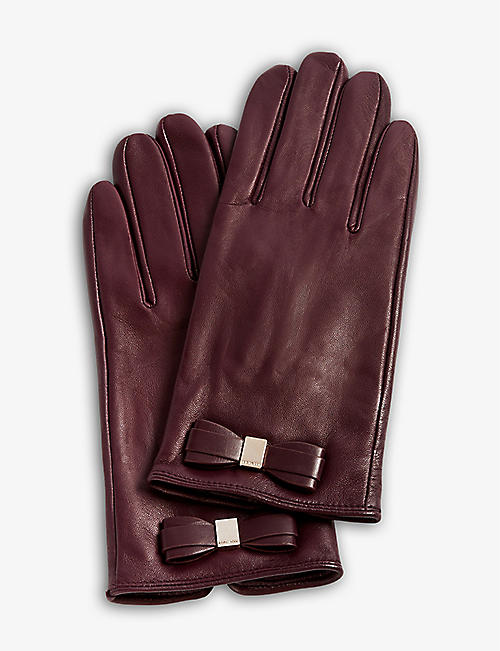 TED BAKER: Frannca bow-appliqué leather gloves