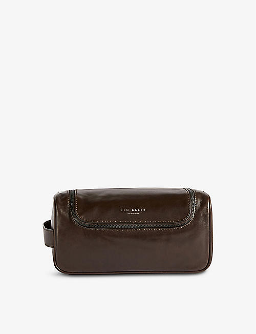 TED BAKER: Logo-embossed leather wash bag