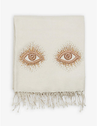 JONATHAN ADLER: Muse Eyes bead-embellished camel hair and wool-blend throw