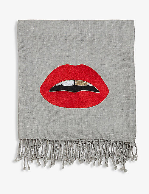 JONATHAN ADLER: Lips bead-embellished camel hair and wool-blend throw