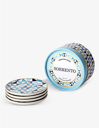 JONATHAN ADLER: Sorrento graphic-print porcelain coasters set of four