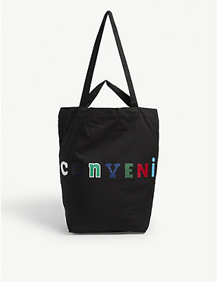 THE CONVENI: Logo-print canvas tote bag